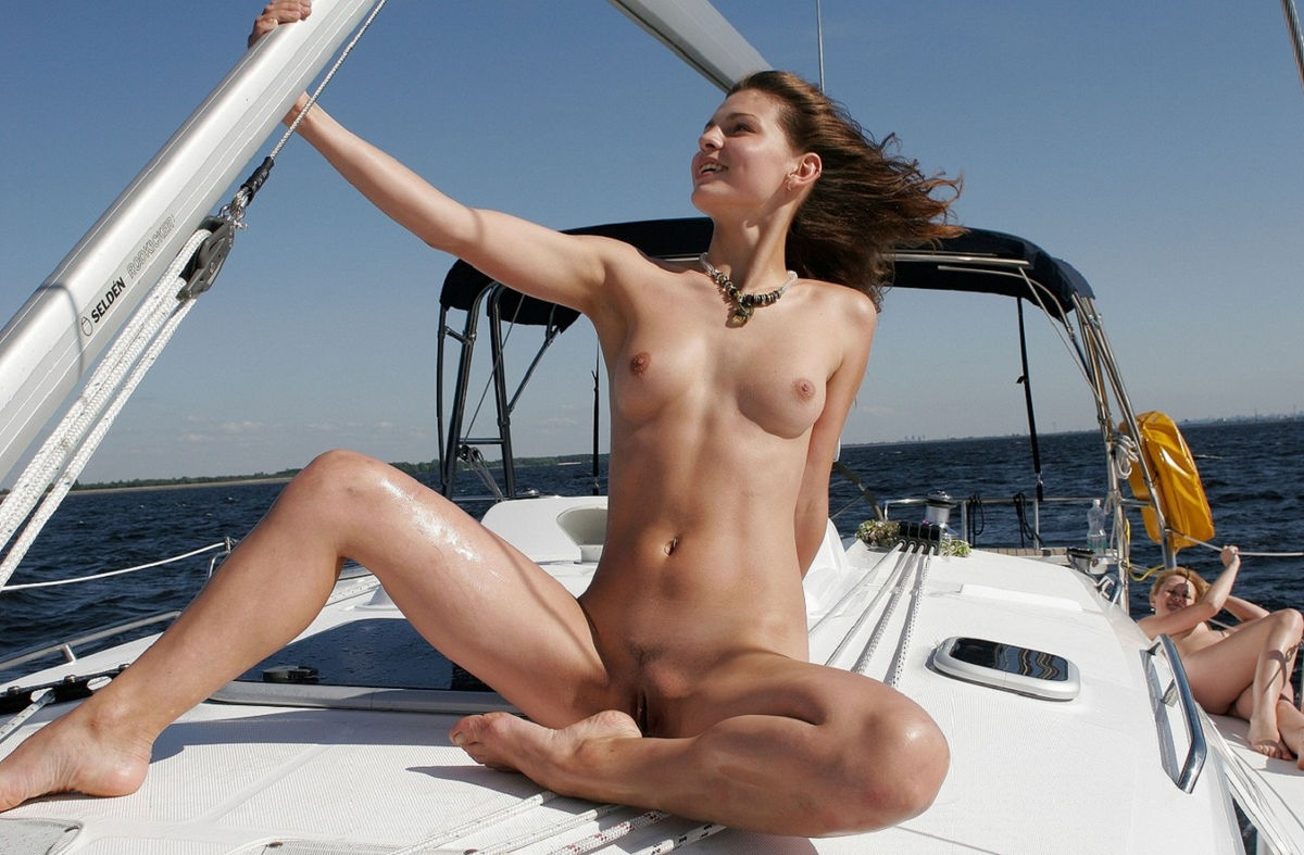 Two Smiling Girls With No Clothes On Yacht  Russian Sexy -1593