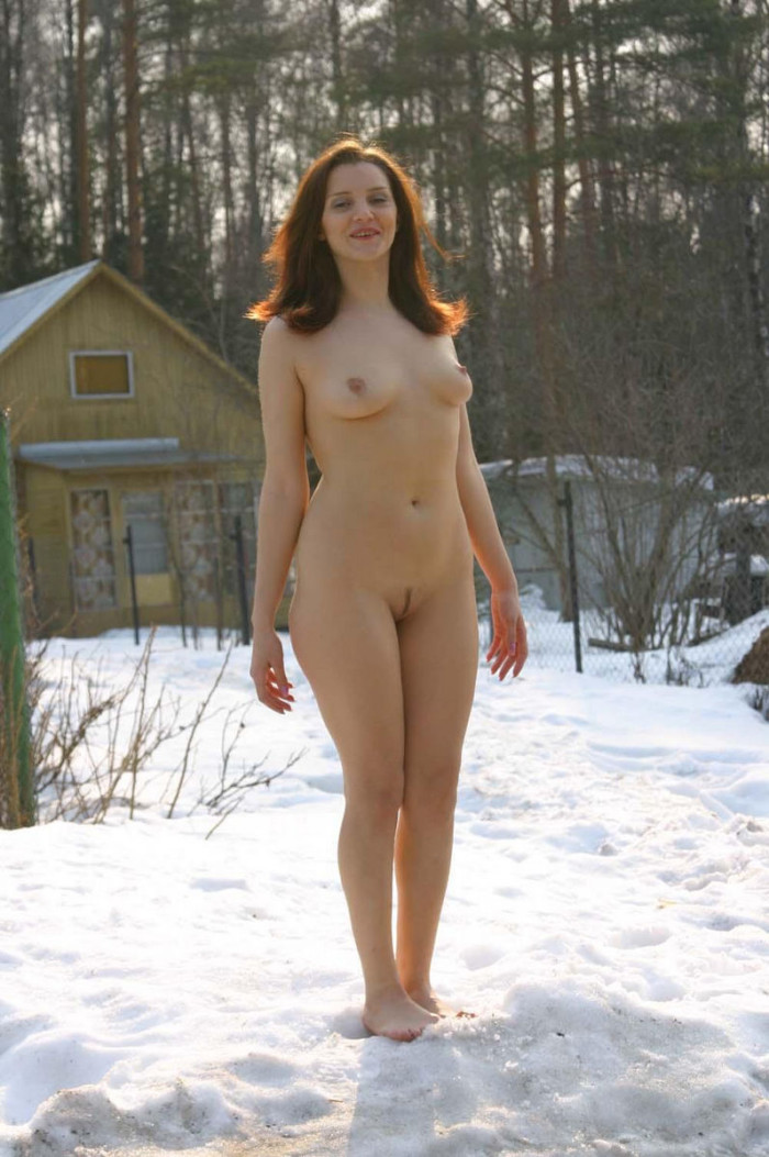 Girl In A Transparent Dress Goes On Winter Road  Russian -4682