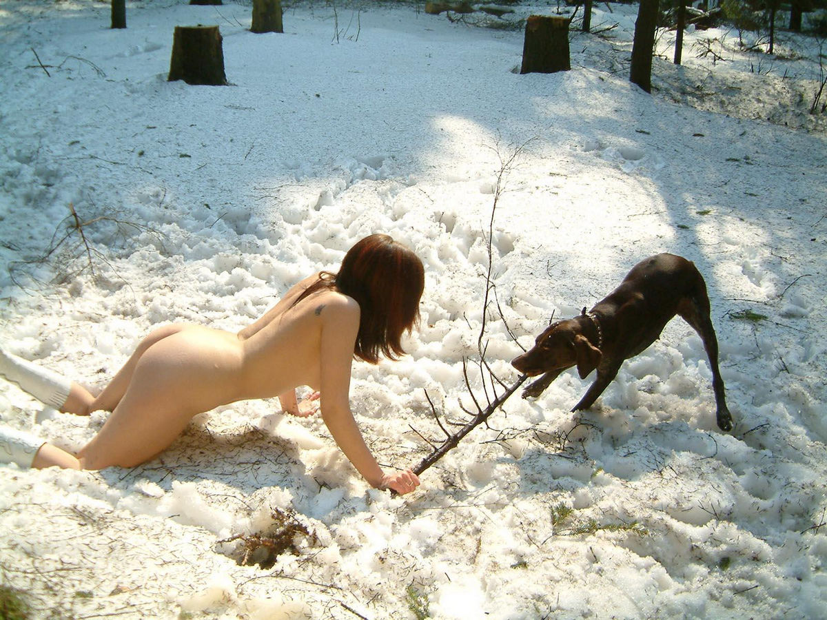 Naked Girl Playing Snowballs With Dog At Winter Forest -3600
