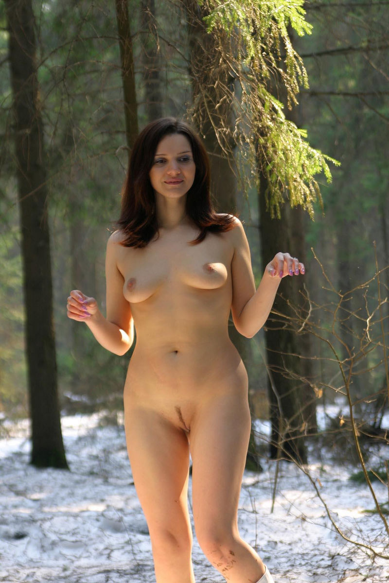 Naked Girl Playing Snowballs With Dog At Winter Forest -5327