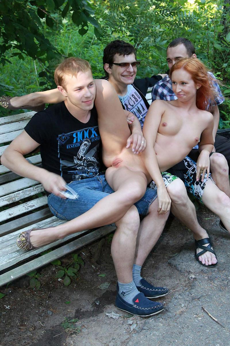 nude girl three men