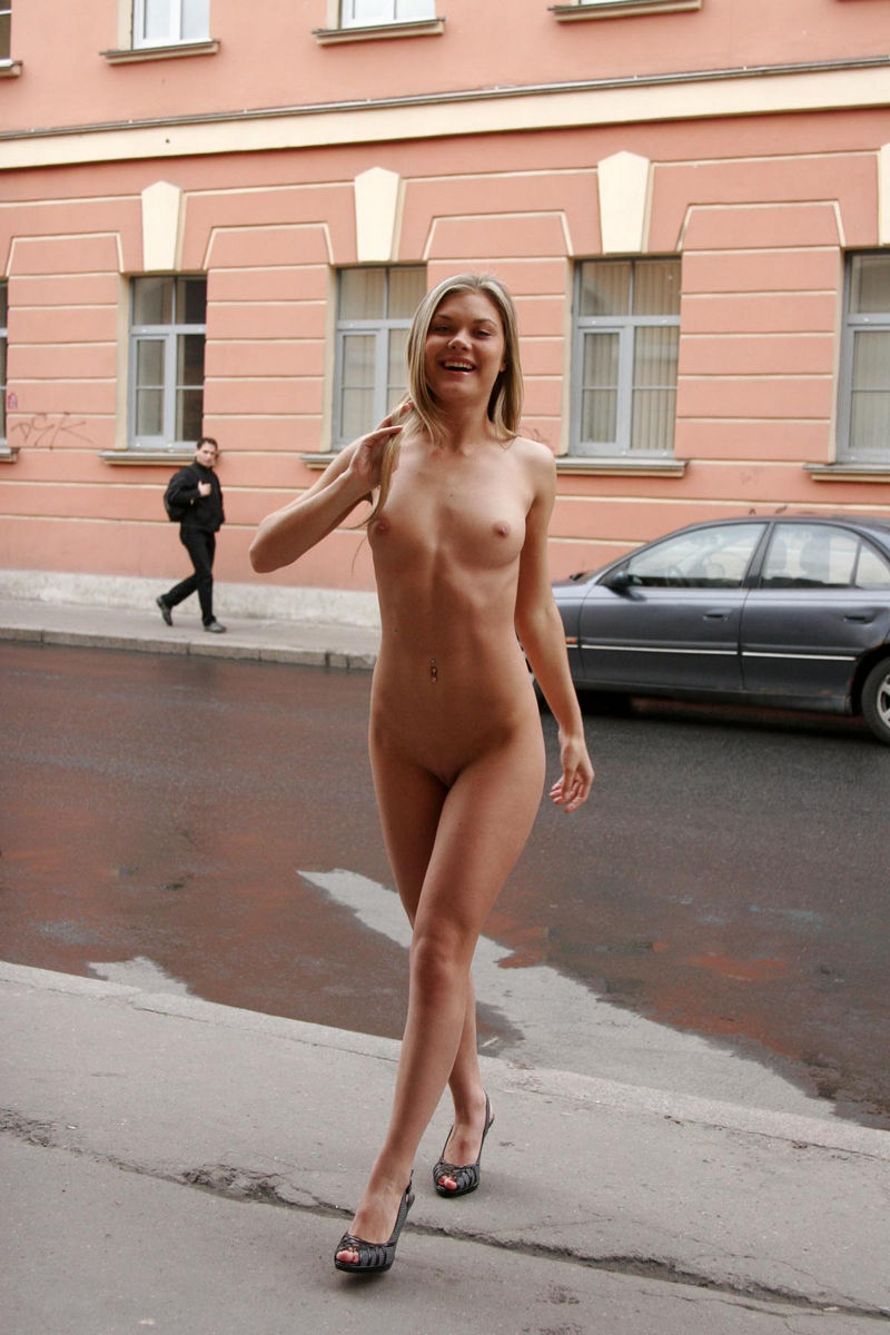 walking nude in street