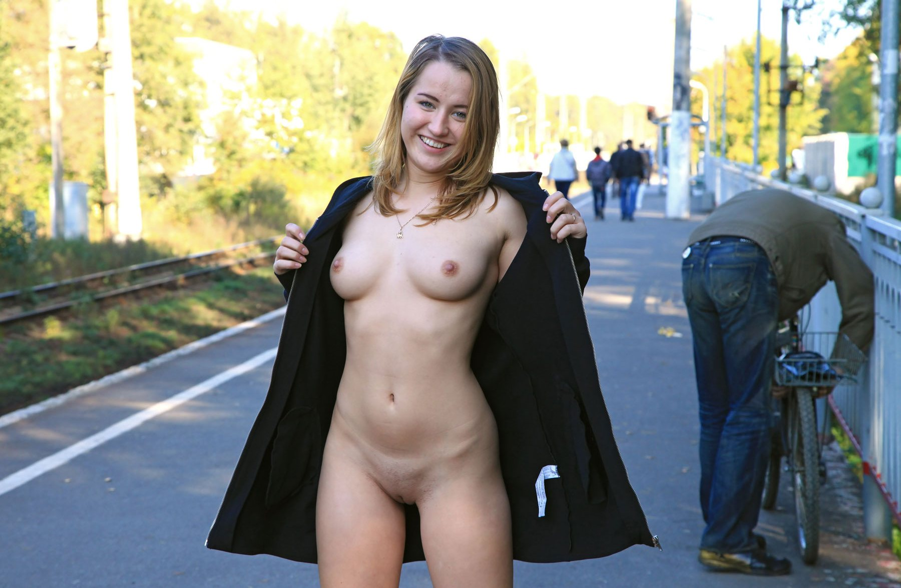 girl naked under jacket