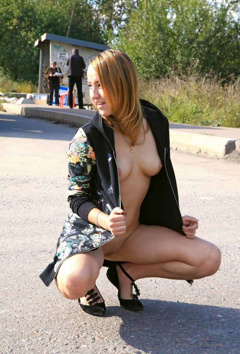 Almost nude girls public theme