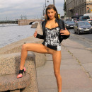 Teen babe Marina exposes her pussy at public