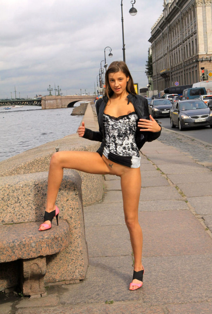 Bare teen tits in public