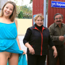 Young but shameless girl flashes near private store