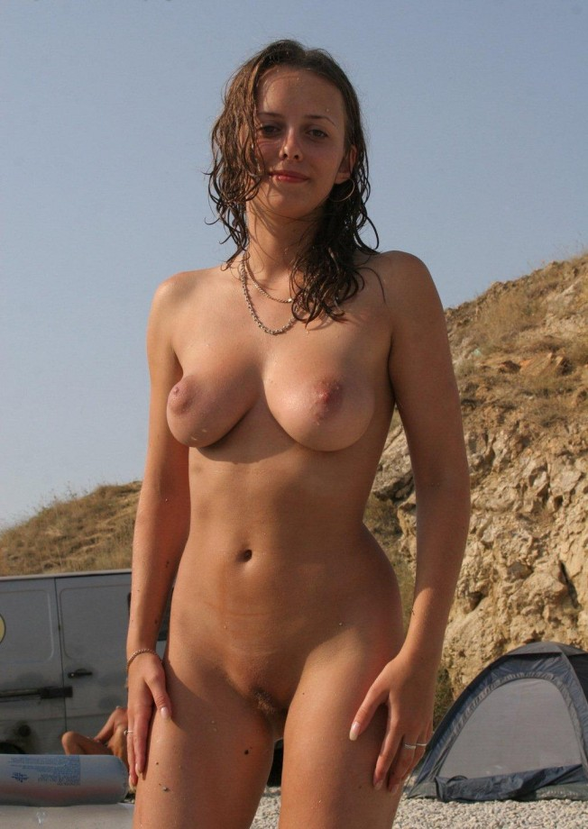 Amazing russian girl with sweet boobs on nudist beach