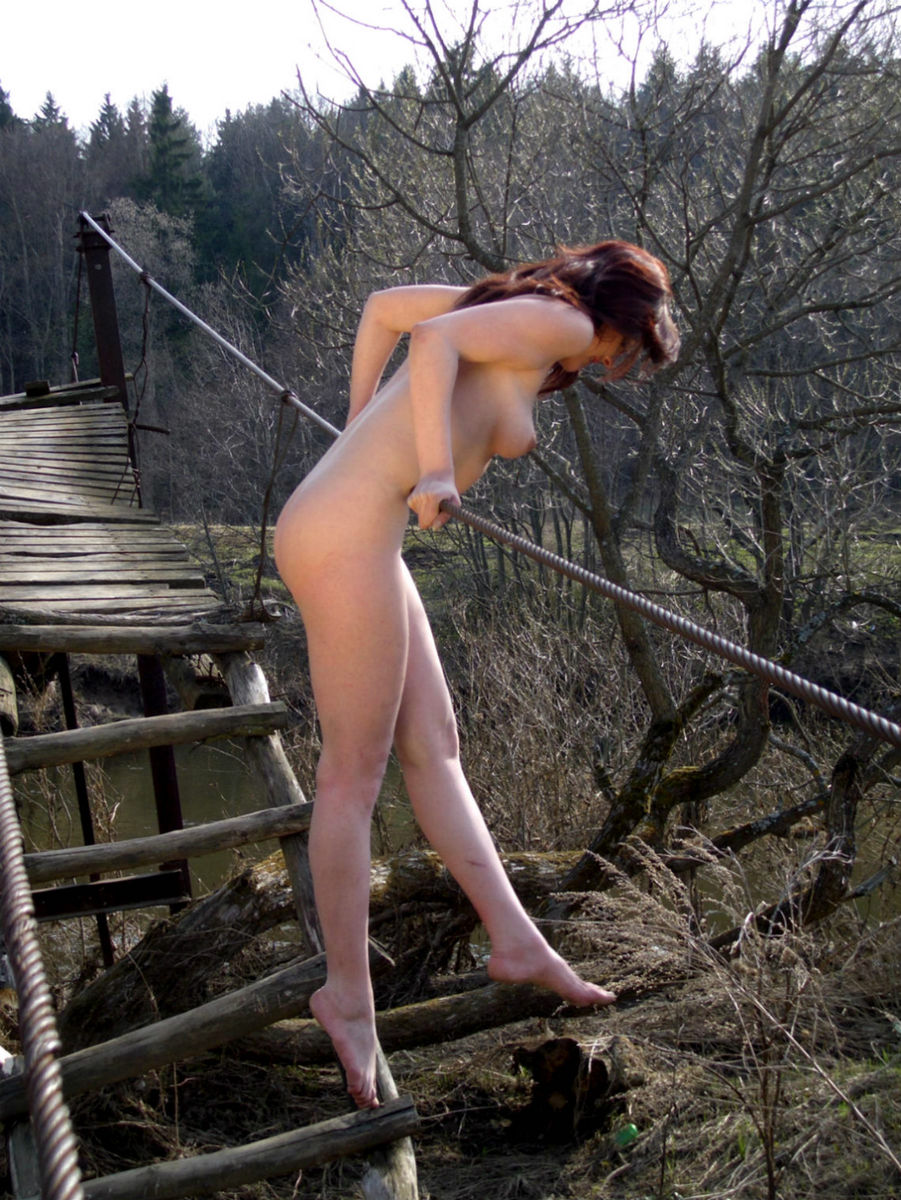 Russian Lady Posing On The Suspension Bridge  Russian -1302