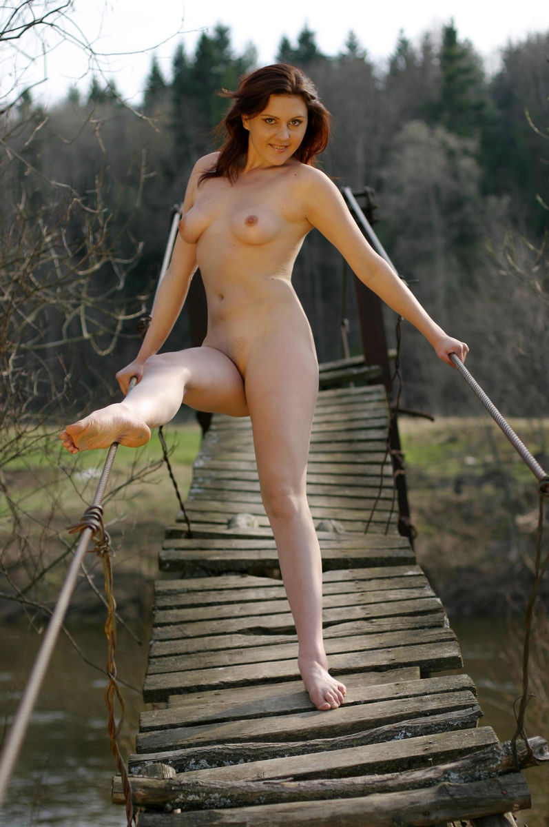 Russian Lady Posing On The Suspension Bridge  Russian -3408