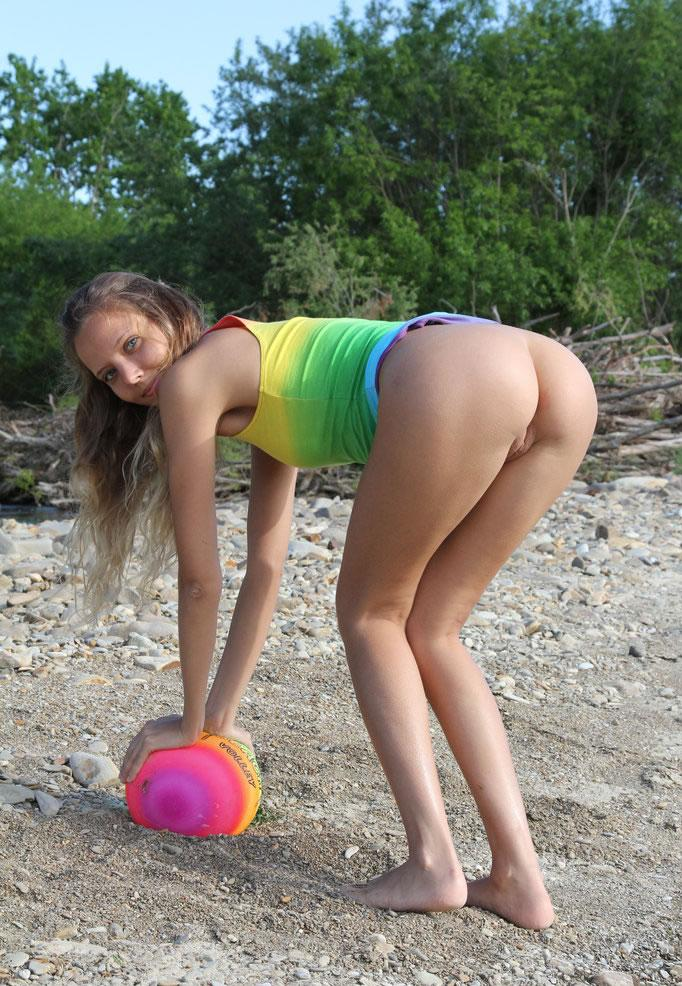 New Very young teen girls beach attentively