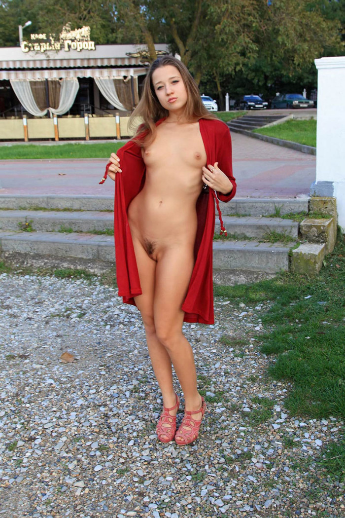 Big session of young russian flasher Yana in red coat
