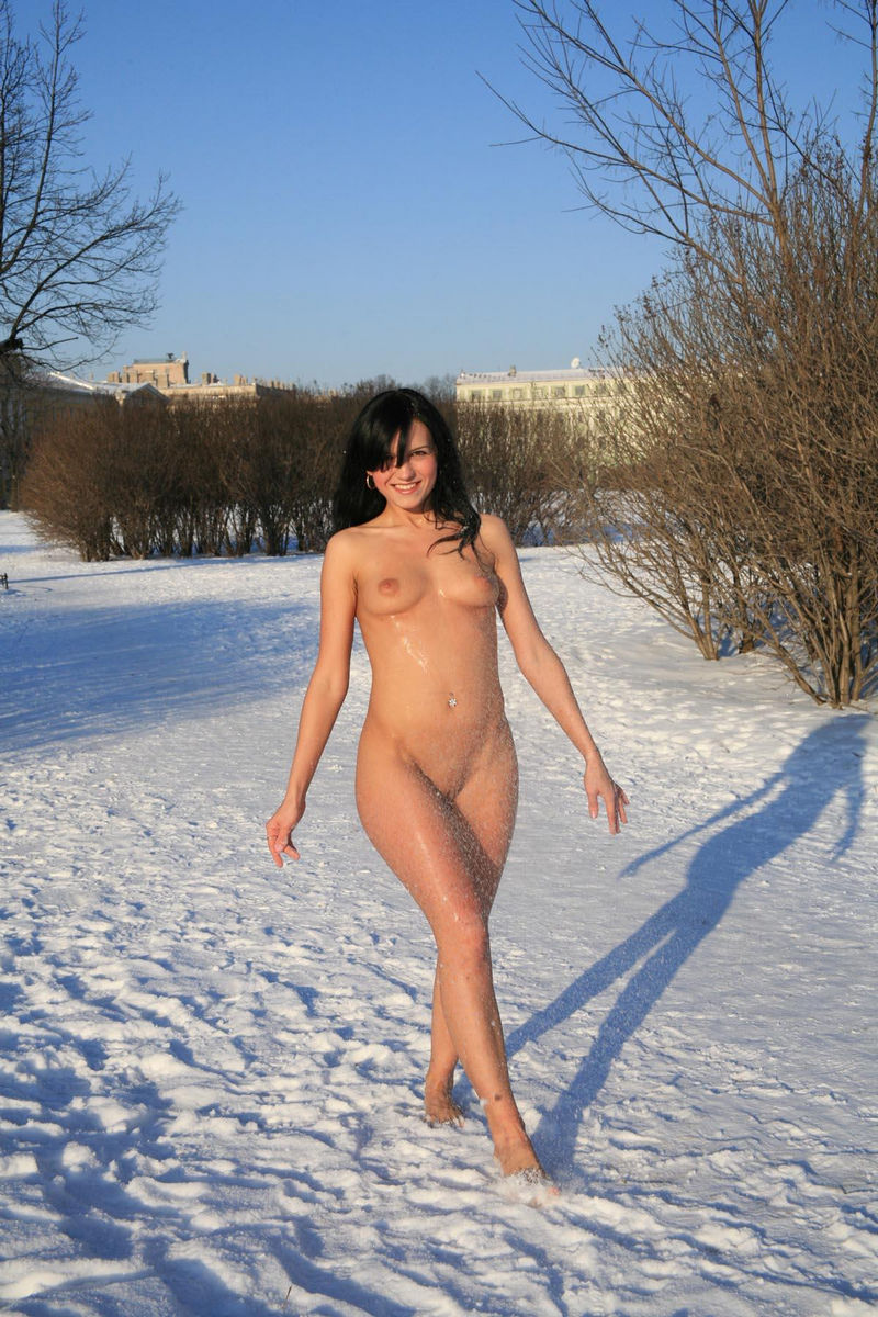 Rather useful brunette naked in park about such