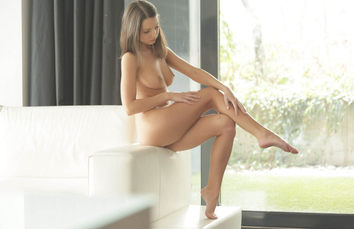 Young woman takes off her clothes her body is perfect - 3 part 9