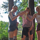Three slutty girl on picnic at public park