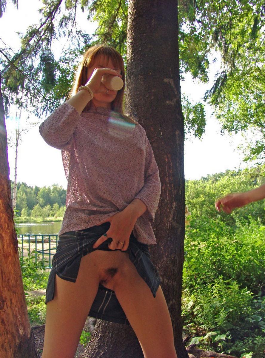 three slutty girl on picnic at public park russian sexy