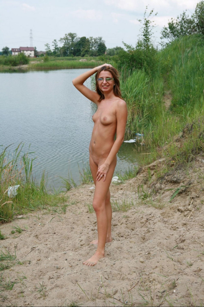 Young Masha posing with no clothes on trail