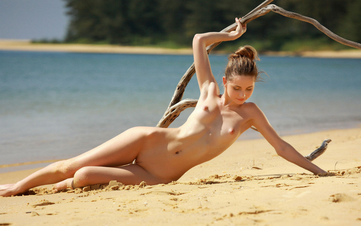 beach Beautiful young girls at