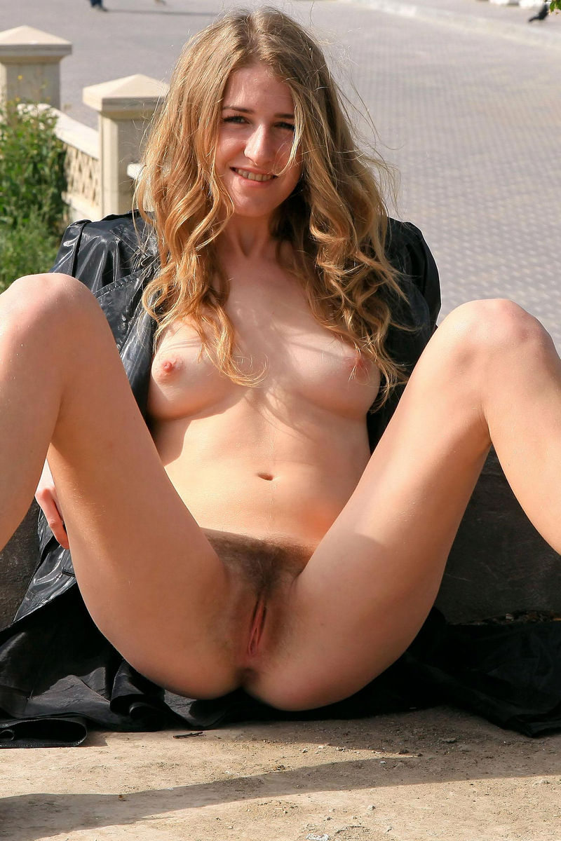 Hairy girl nude in public