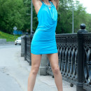 Hot girl in beautiful blue dress flashes at public place