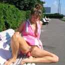 Russian wife with hairy cunt masturbates asshole at public
