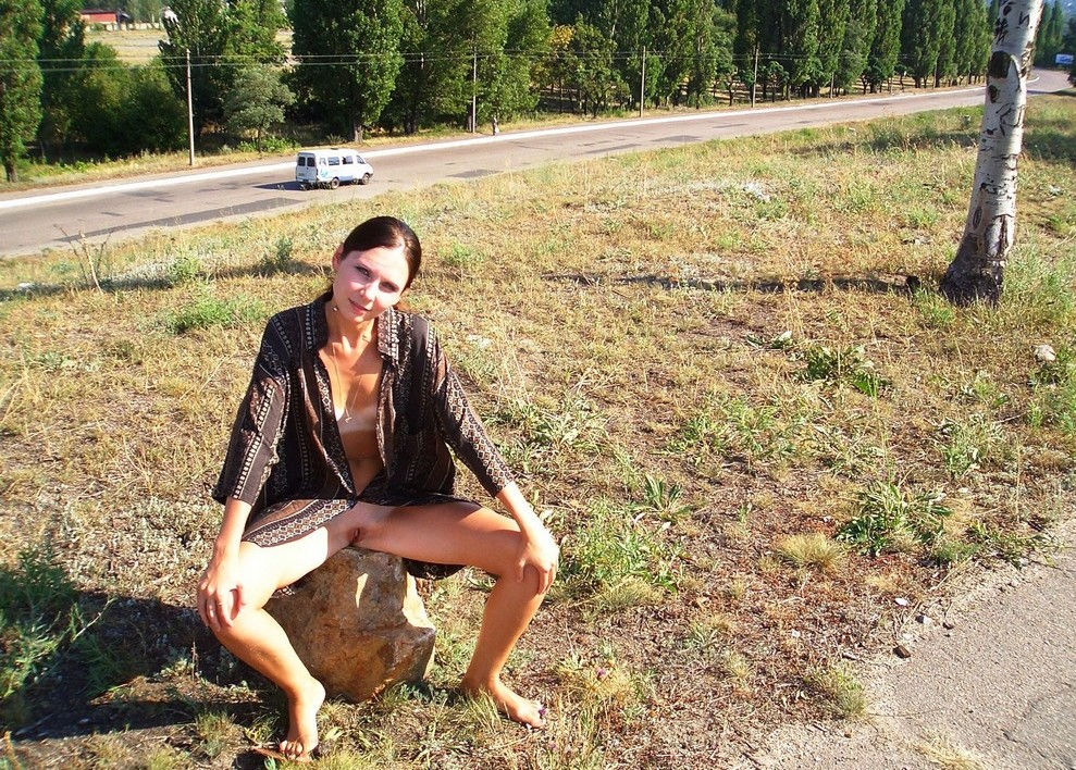 Crimean Girl With Deep Tan Lines On Highway  Russian Sexy -3961