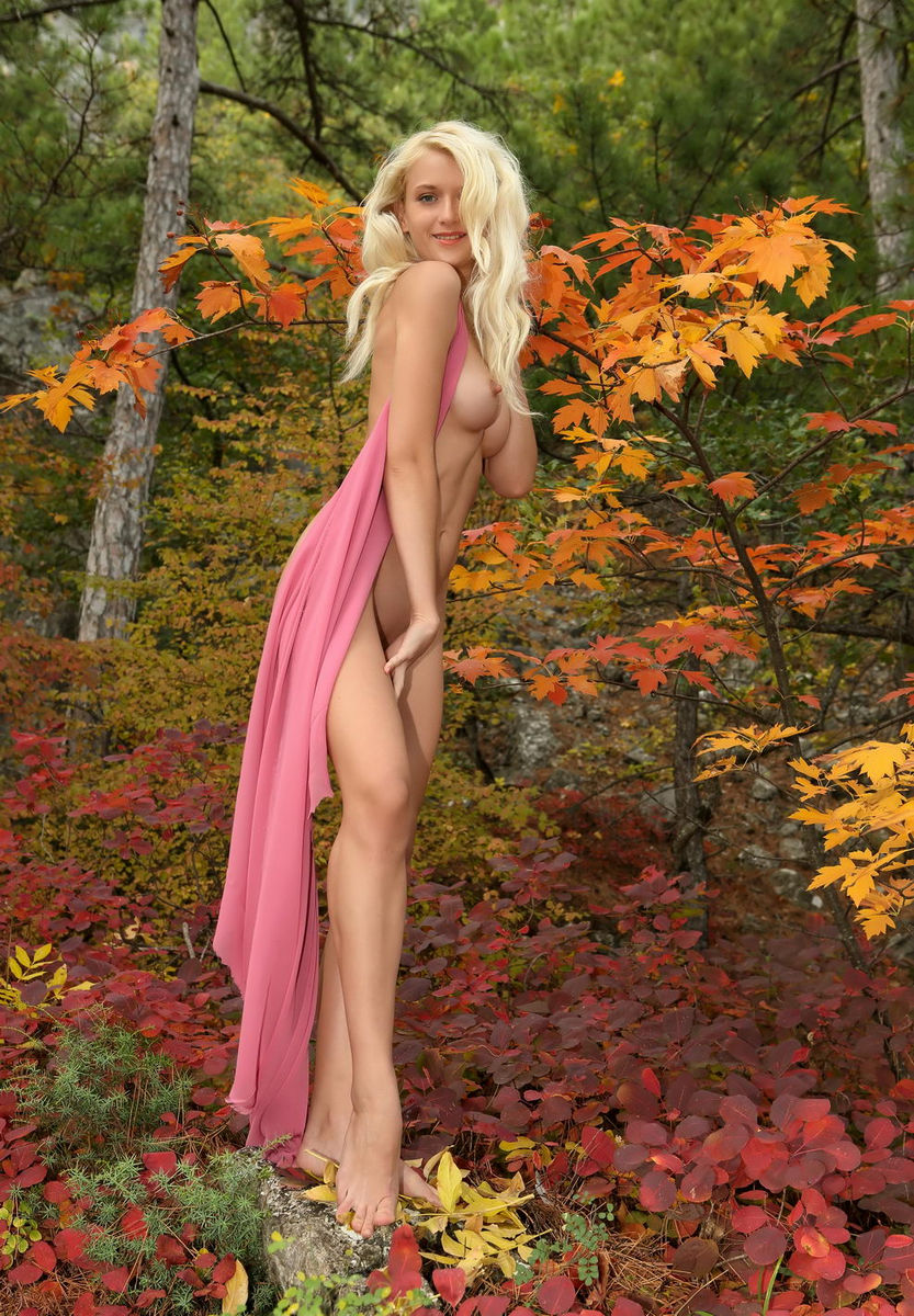 Hot Blonde Nika N In The Autumn Forest  Russian Sexy Girls
