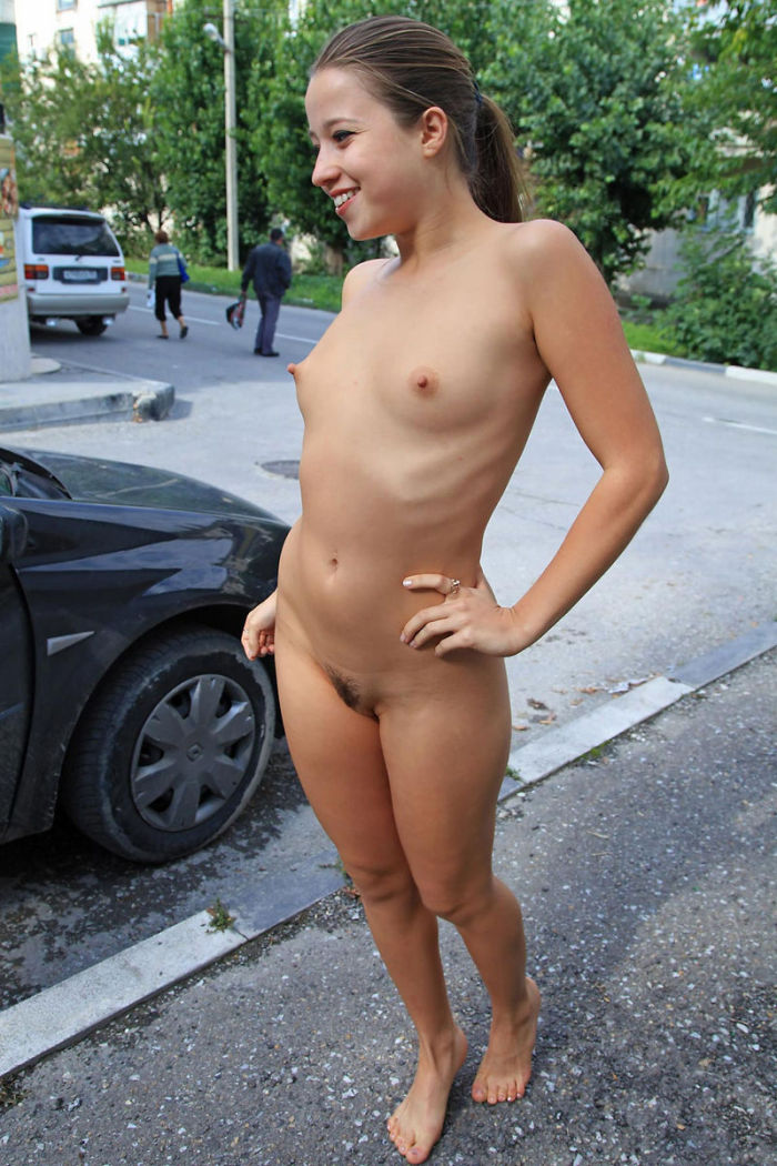 Shameless Teen With Small Tits Walks On Streets  Russian -6719