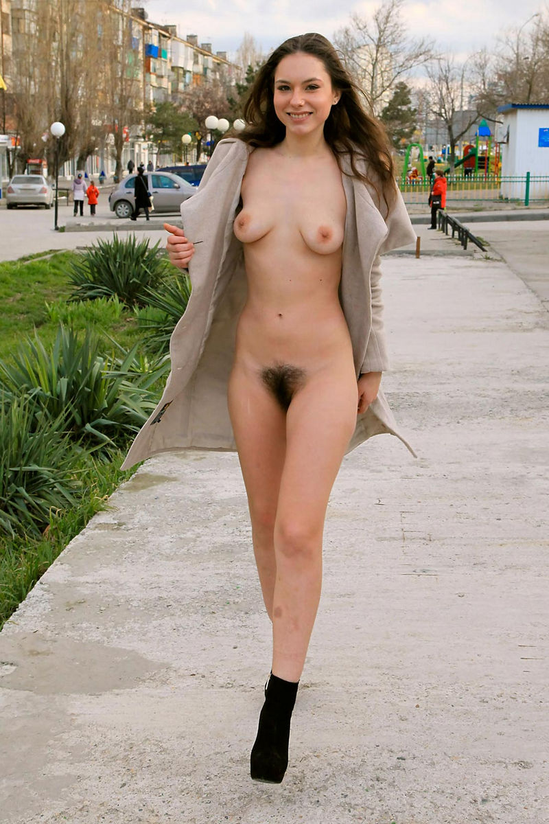 Possible Hairy girl nude in public