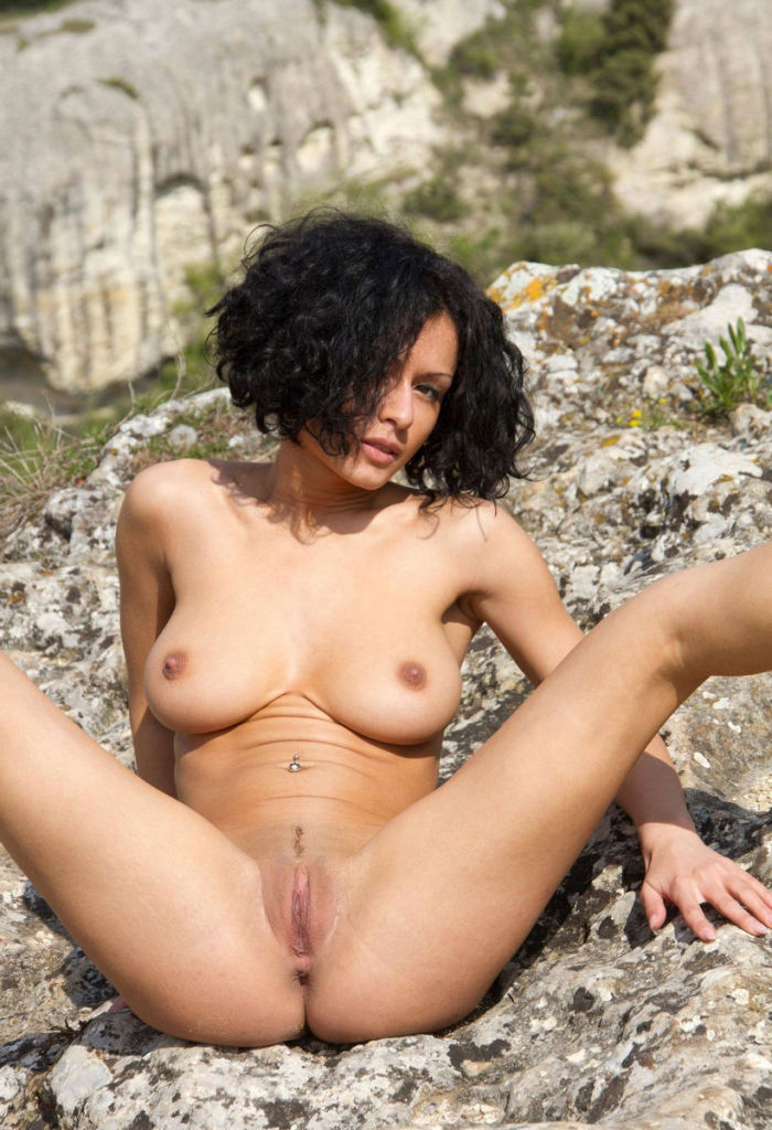 Naked Russian Asian Tasha B in a public park