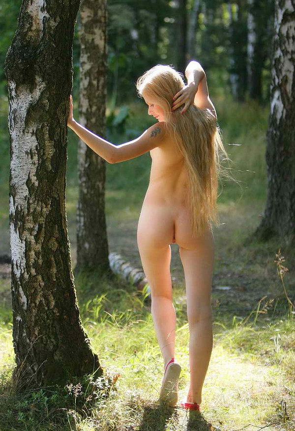 Long-Haired Blonde With Tattoo In Forest  Russian Sexy Girls-5373