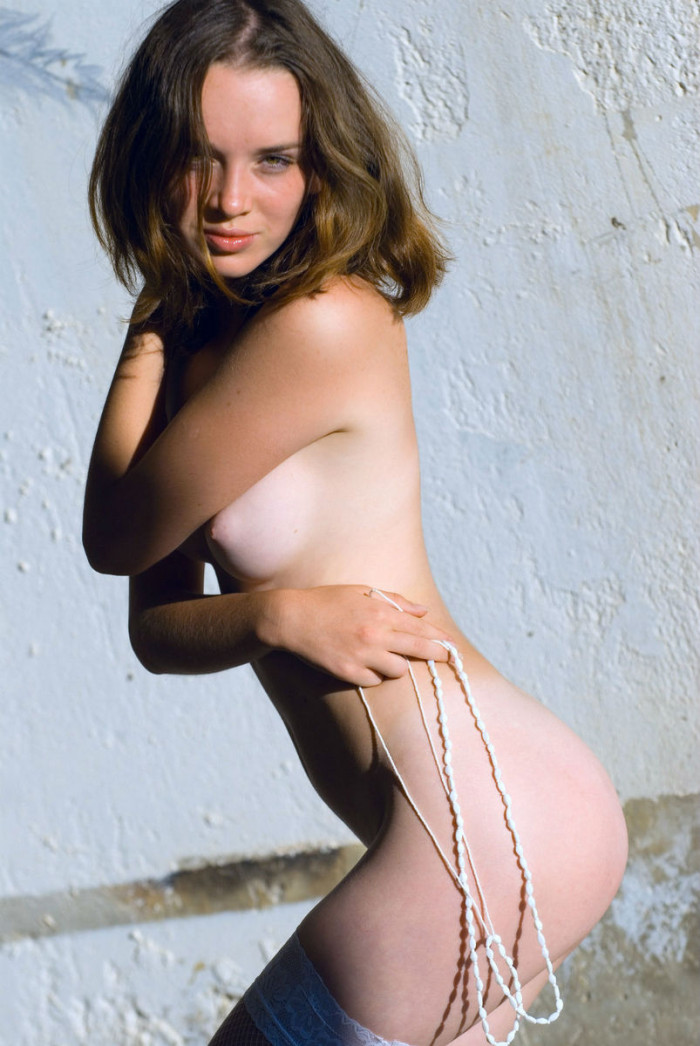 Cute Teen In White Stockings At Abandoned Building -9521