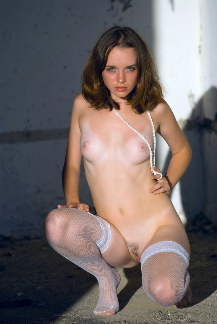 Cute Teen In White Stockings At Abandoned Building  Russian Sexy Girls-1558