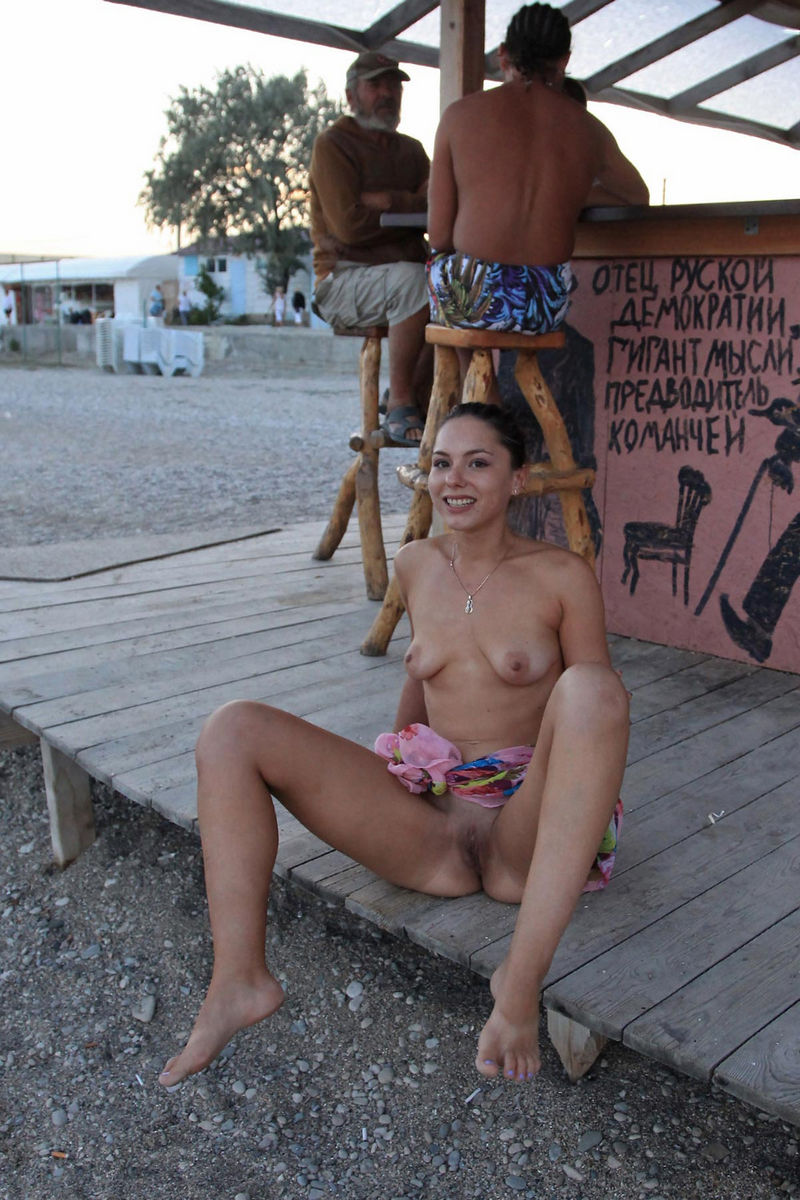 Russian Girl Demonstrates All Her Goods On Public Beach -8070