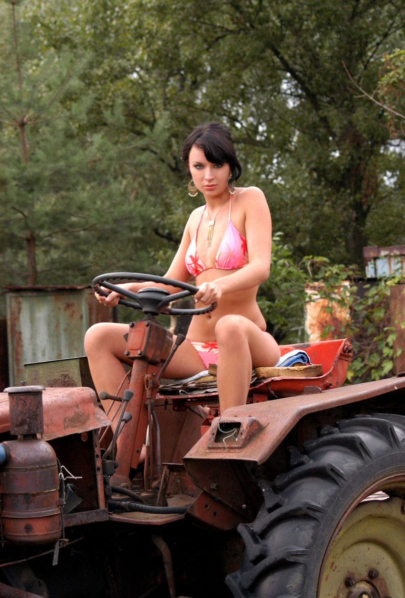 Sexy Brunette Naked By A Tractor Trailer