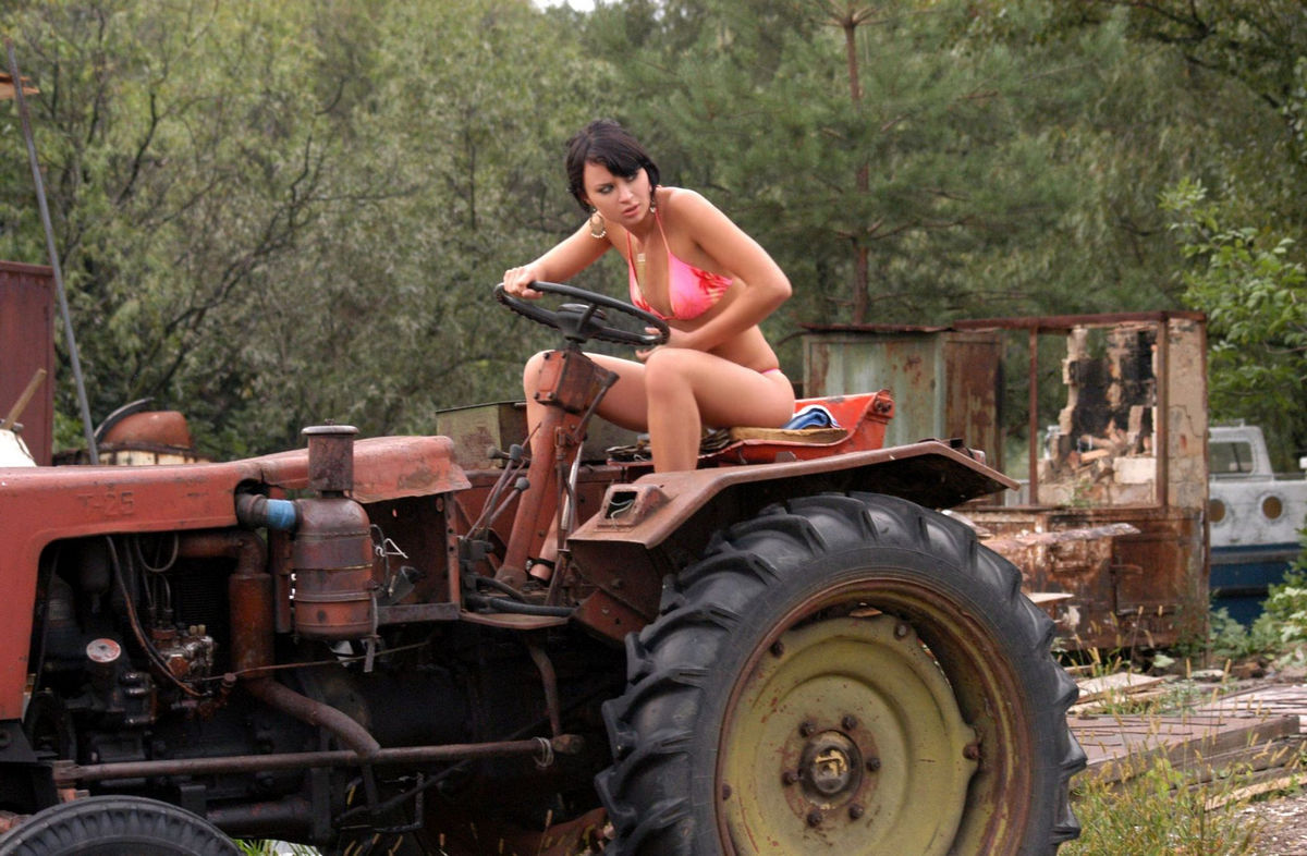 naked ladies on a tractor