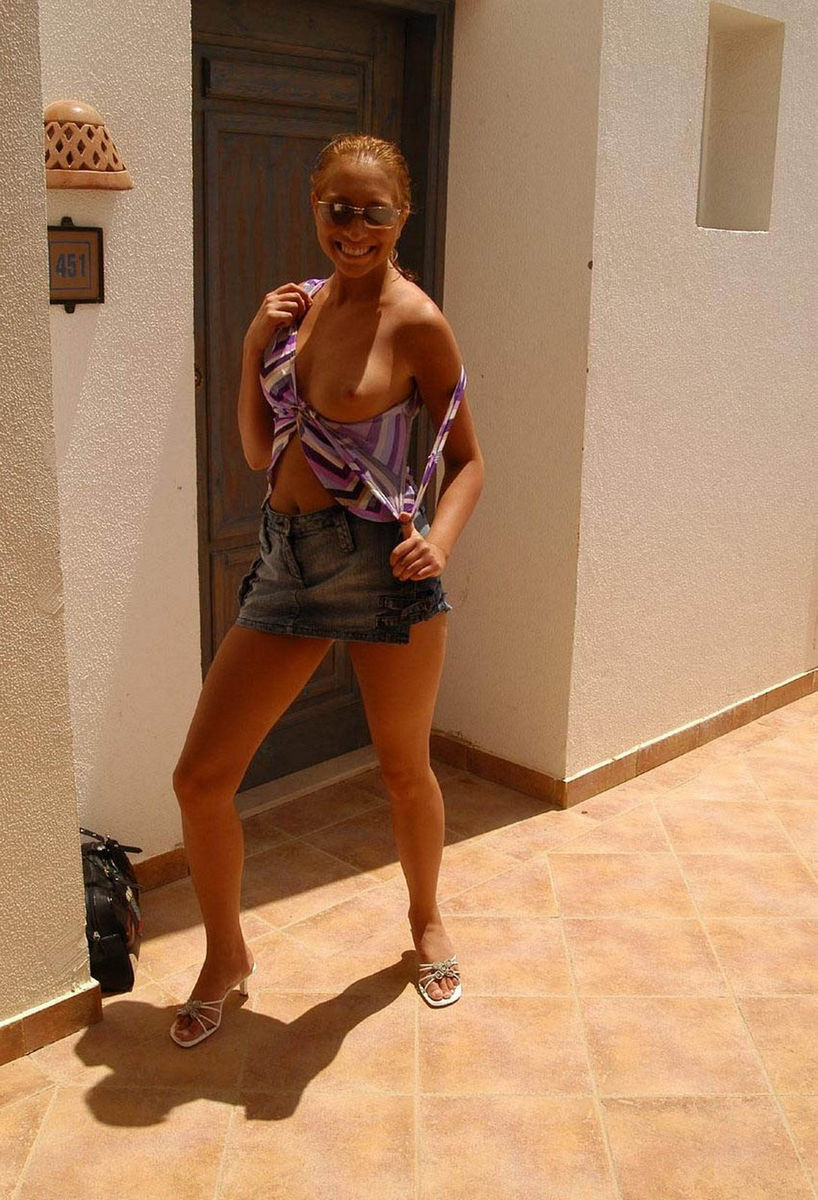 Sexy busty blonde flashing