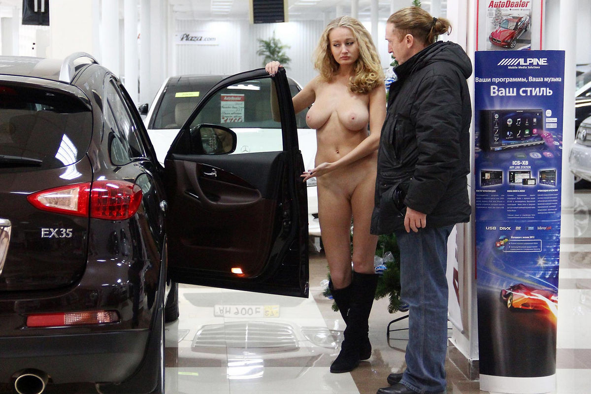 Naked Busty Car Dealer Varvara Shows Car To Customer -6546
