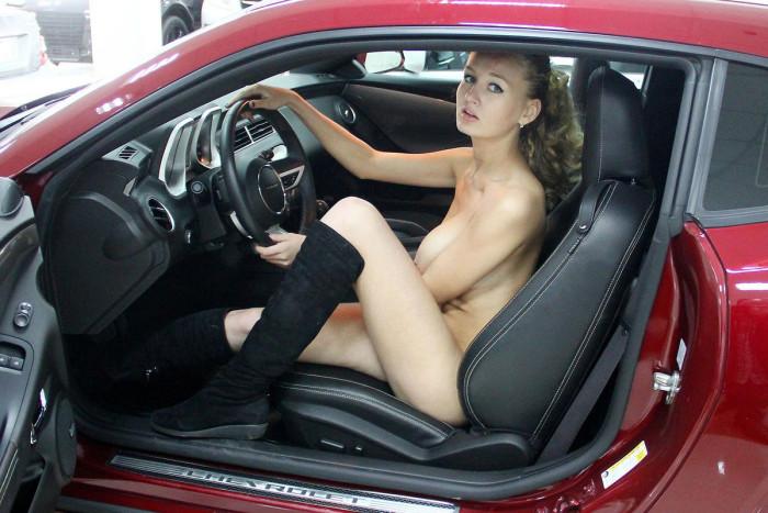 Naked Busty Car Dealer Varvara Shows Car To Customer -9447