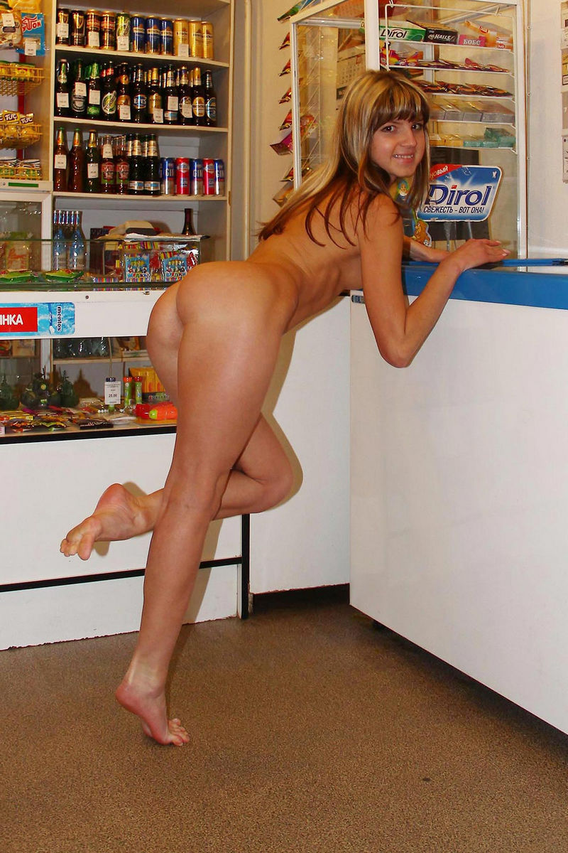 Slender Young Woman Posing Naked In A Mini Shop With Ease -4601