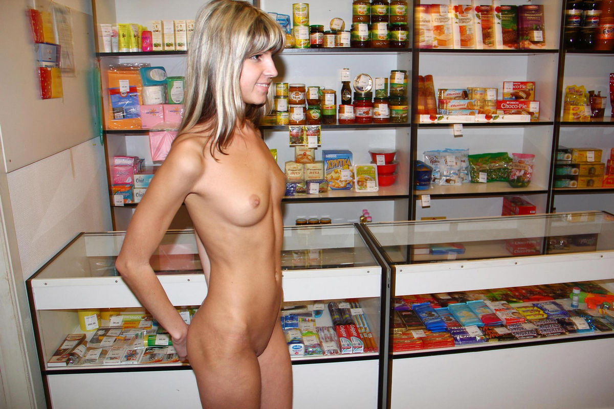 naked girls in a store