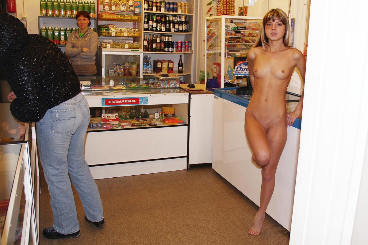 Nude woman in adult store join