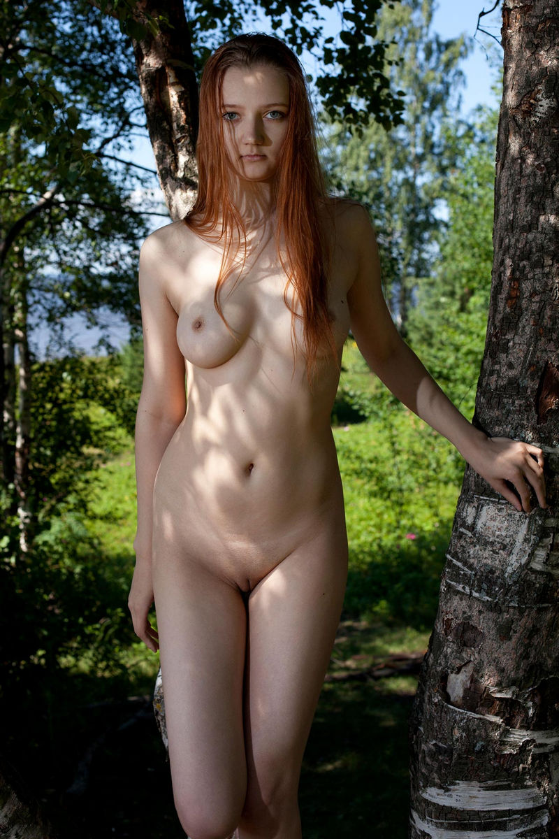 Tall Red-Haired Young Girl On A Birch  Russian Sexy Girls