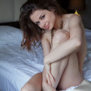 Hottie Loretta A with gorgeous lips (both) in white bed