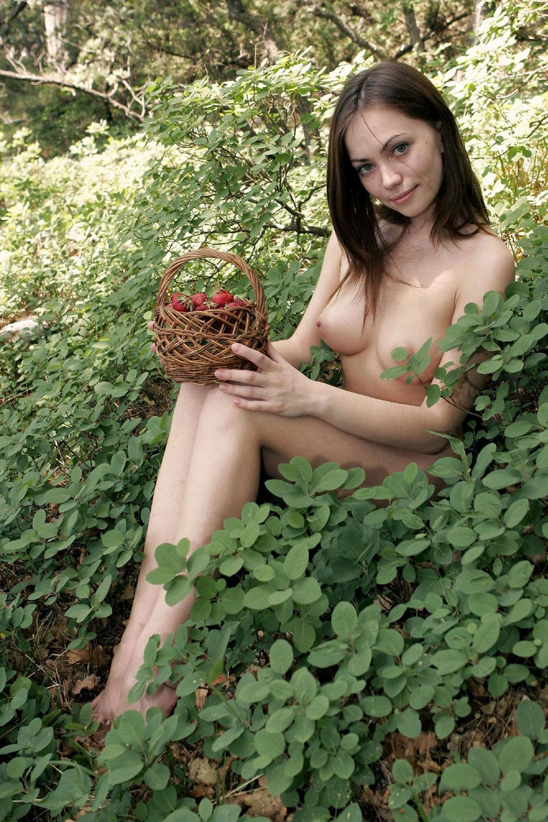 Sensual lady in woods agree