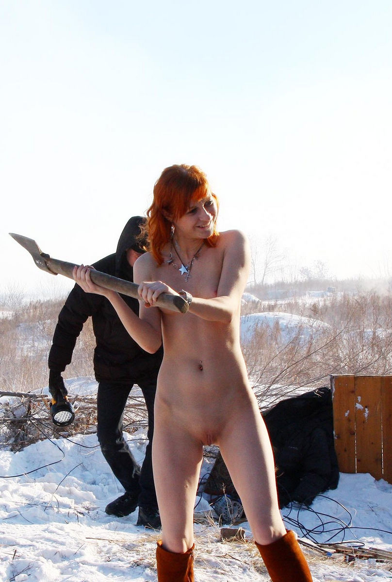 Red-Haired Beauty Learns How To Cut Wood  Russian Sexy Girls-4693