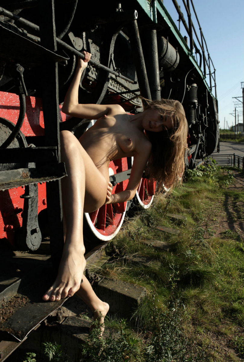 Cute Girl Angel C Posing At Train Monument  Russian Sexy -5819