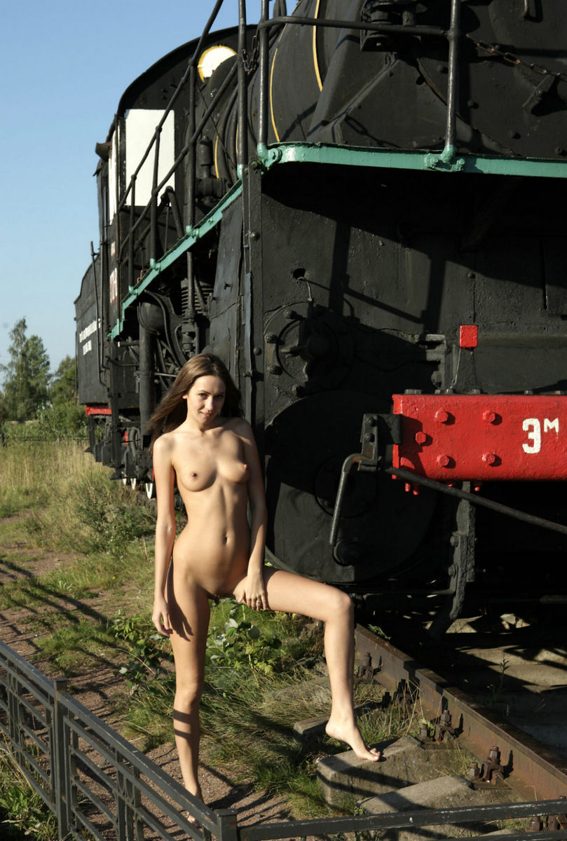 Cute Girl Angel C Posing At Train Monument  Russian Sexy -4580