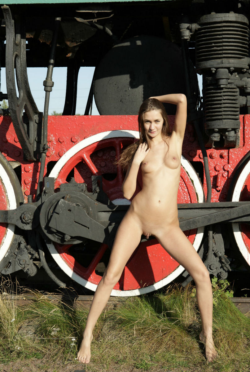 Cute Girl Angel C Posing At Train Monument  Russian Sexy -6923