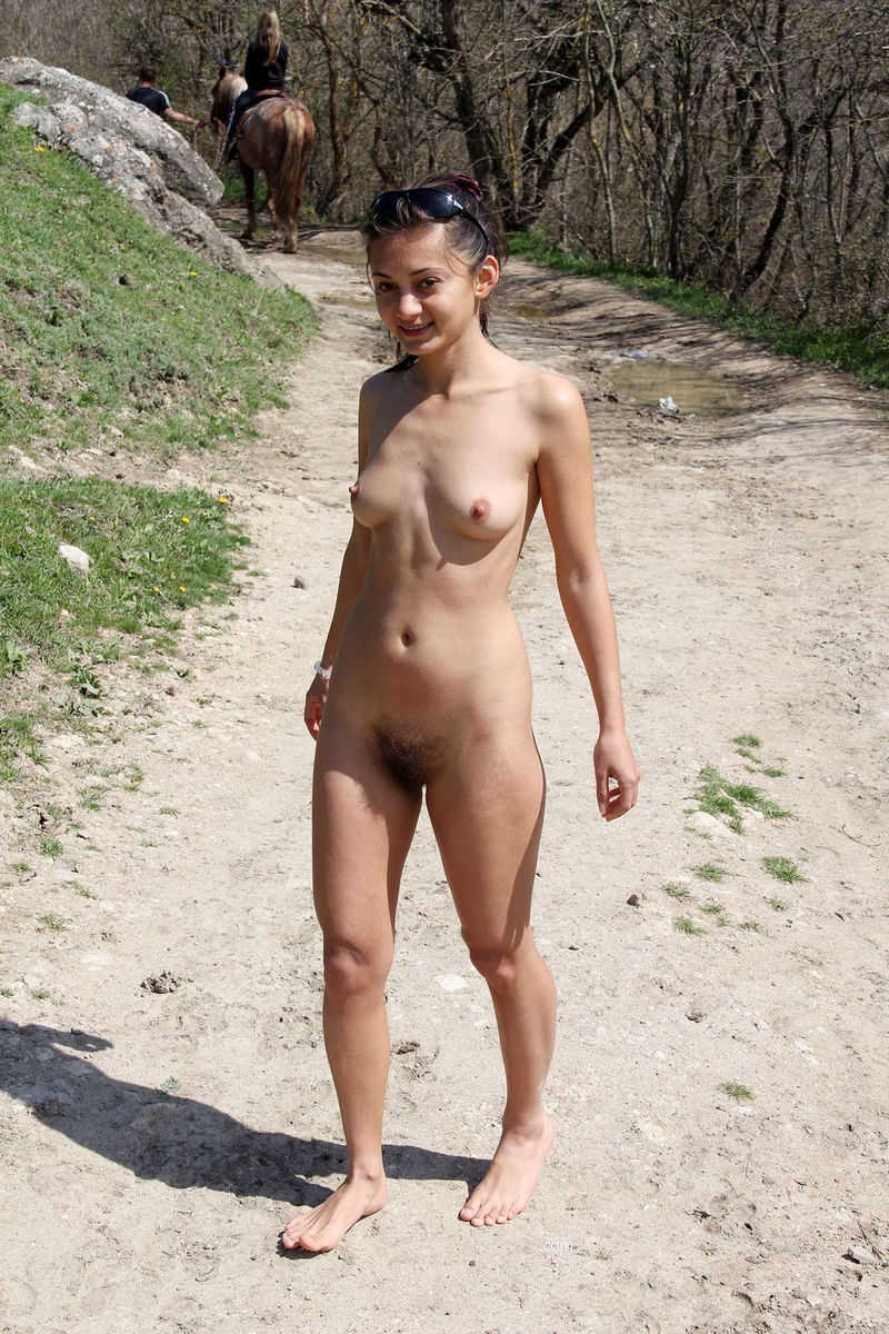 Hairy Teen Sima A Posing Naked On Horse Trail  Russian -3095